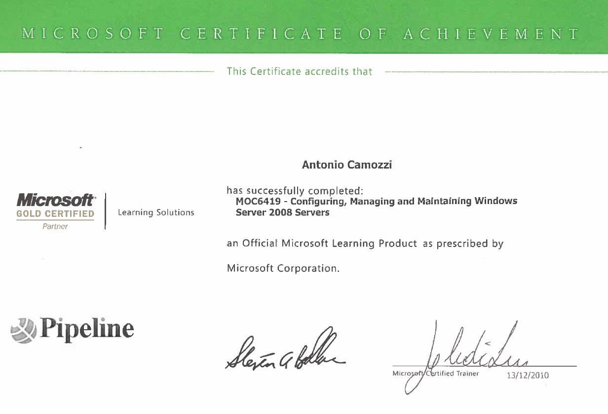 Certificato Antonio Camozzi microsoft certificato