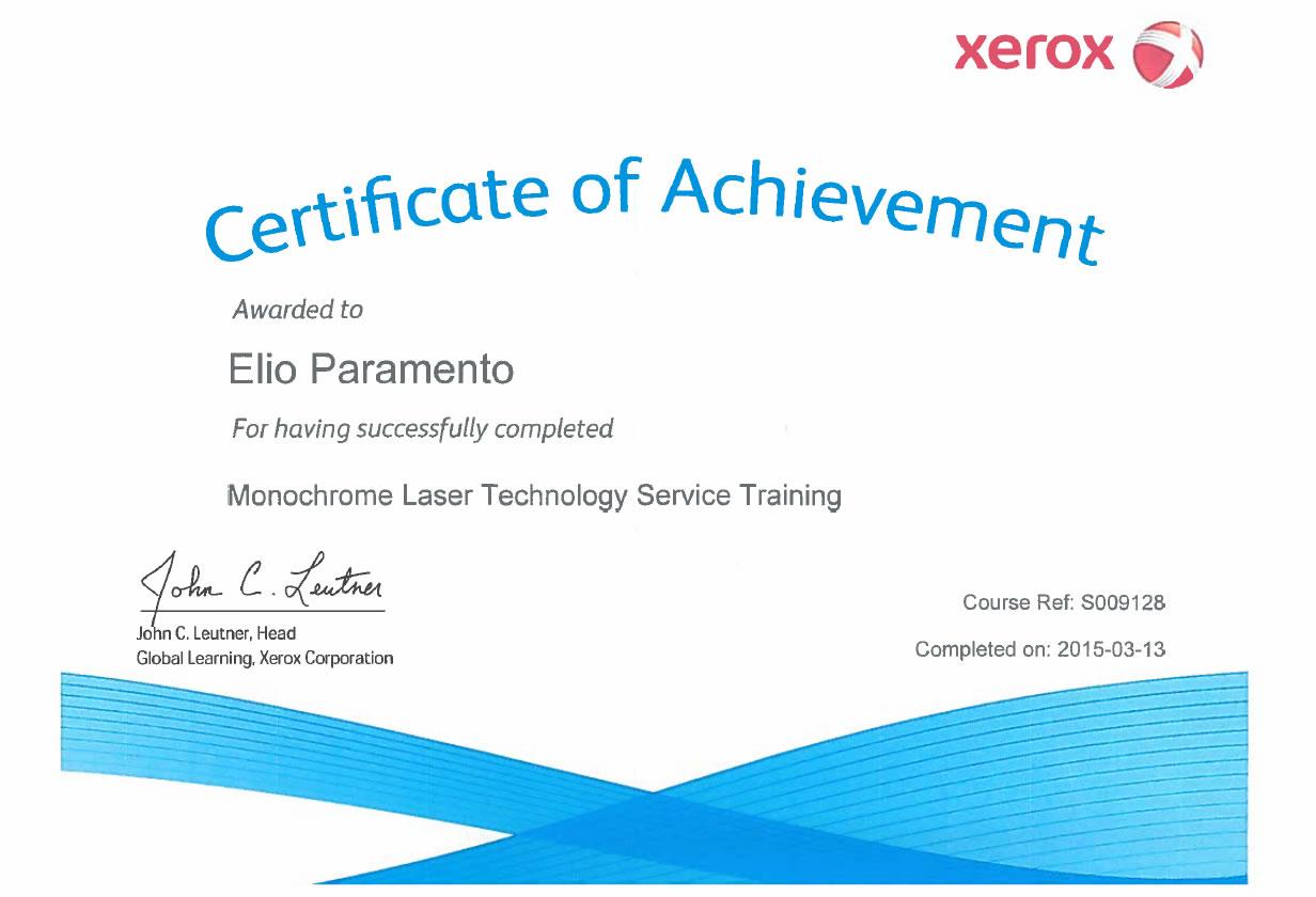 Certificato Elio Paramento Monochrome Laser Technology Service Training