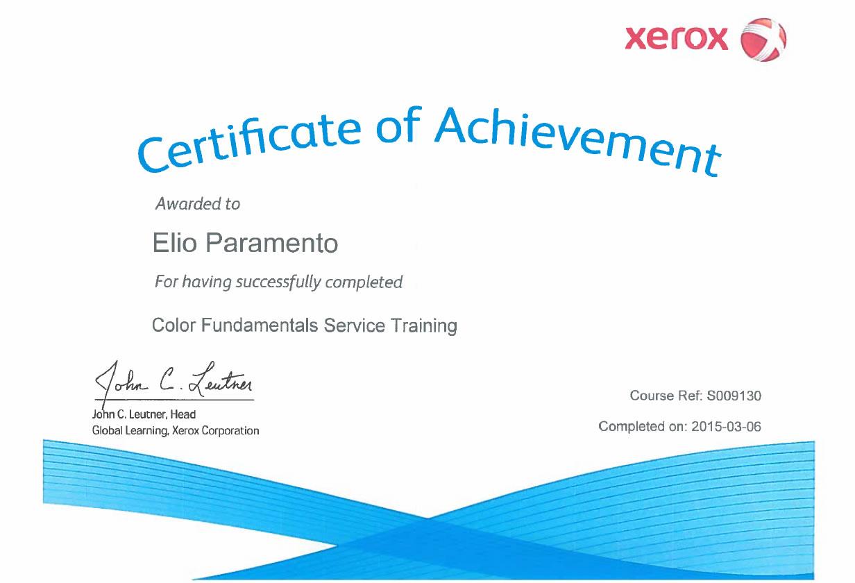 Certificato Elio Paramento Color Fundamentals Service Training