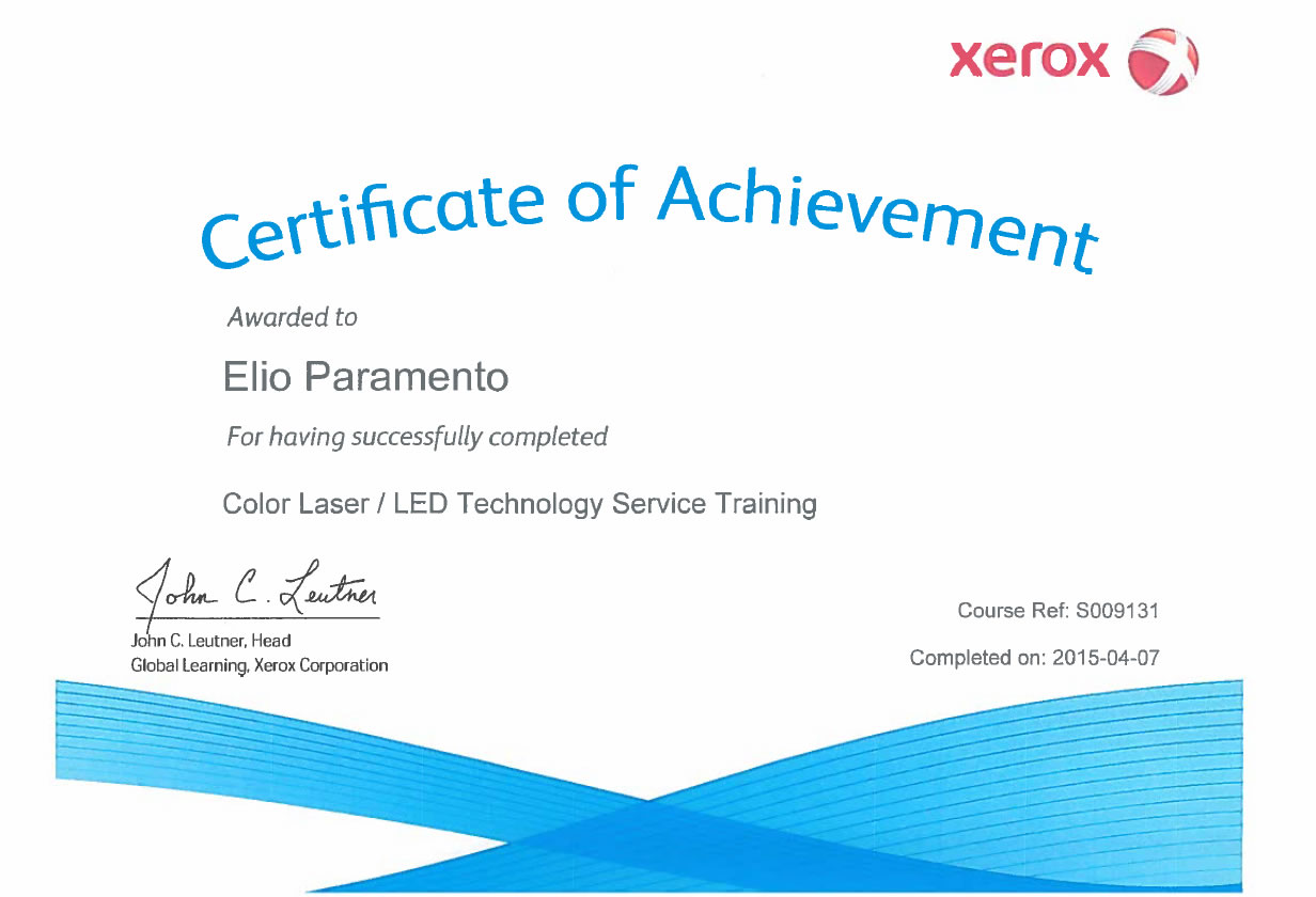 Certificato Elio Paramento Color LAser Led Technology Service Training