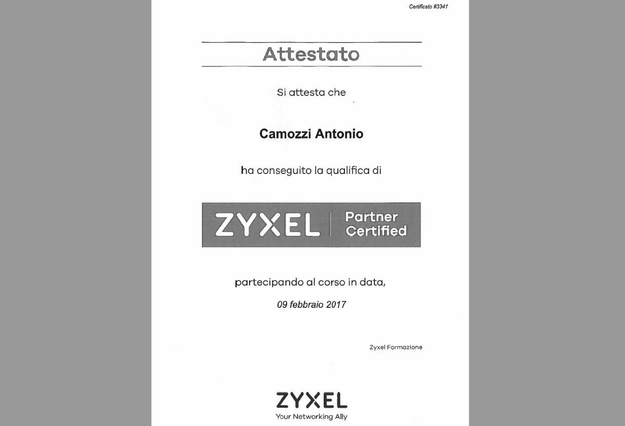 Attestato Camozzi Antonio Zyxel partner certificato