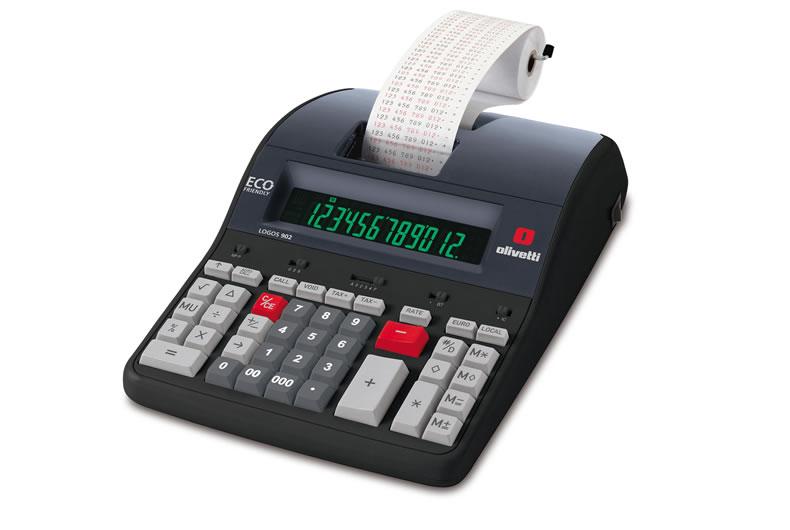 calcolatrice olivetti logos 902 nera, rossa, grigia