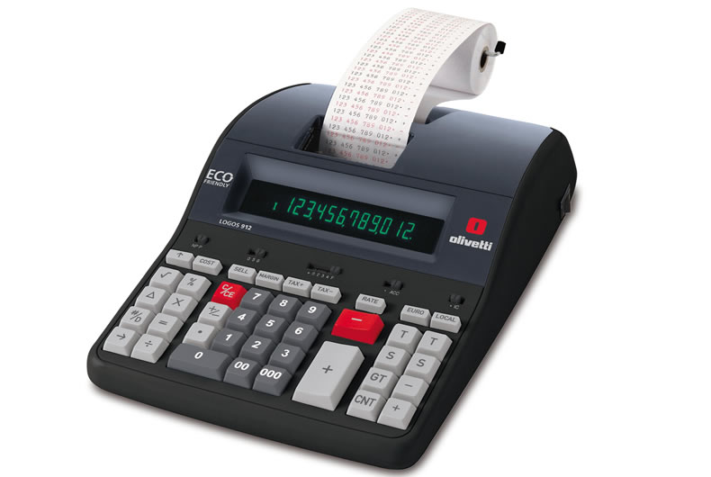 Calcolatrice Olivetti Logos 912 Nera, Rossa, Grigia