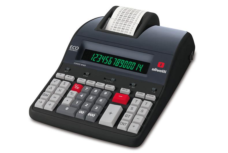 calcolatrice olivetti logos 914 nera, rossa, grigia