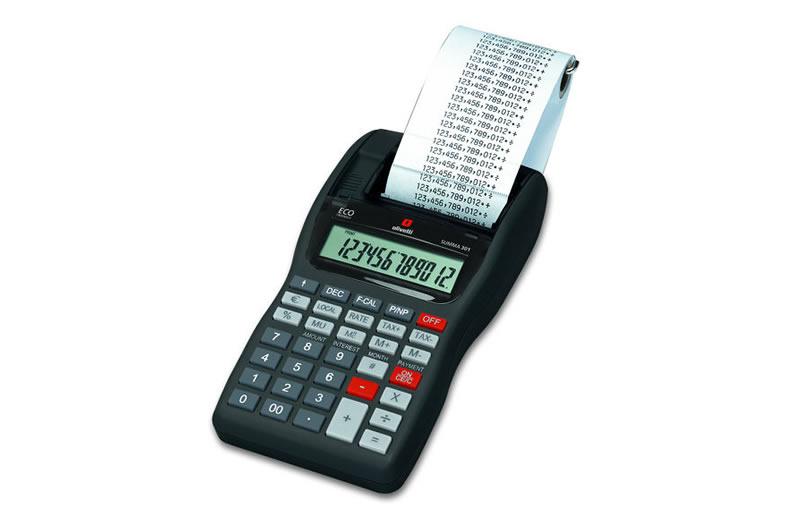 Calcolatrice Olivetti Summa 301 Nera, Rossa, Grigia