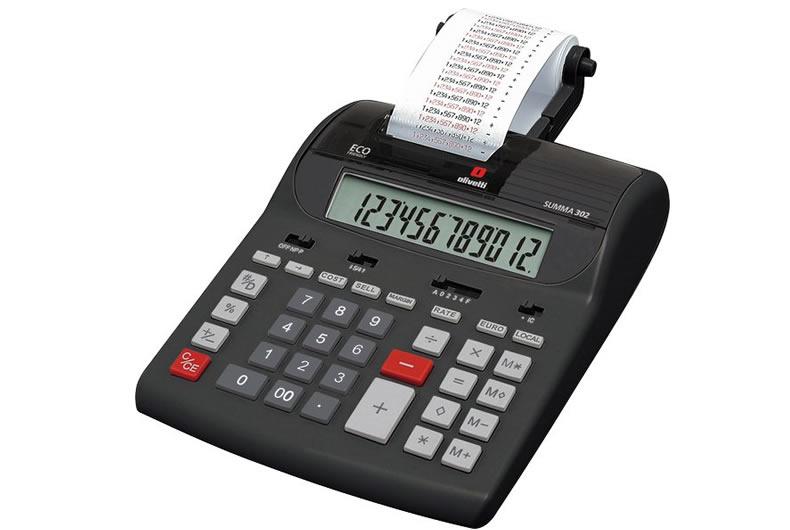 calcolatrice olivetti summa 302 nera, rossa, grigia