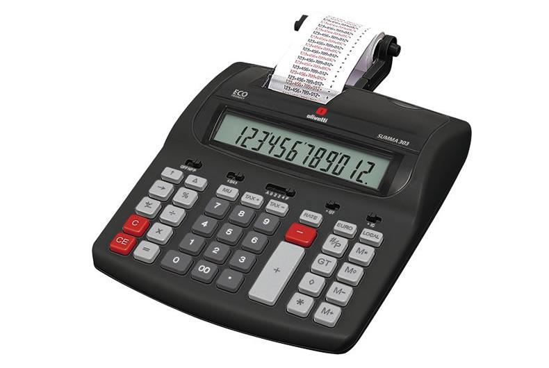 calcolatrice olivetti summa 303 nera, rossa, grigia