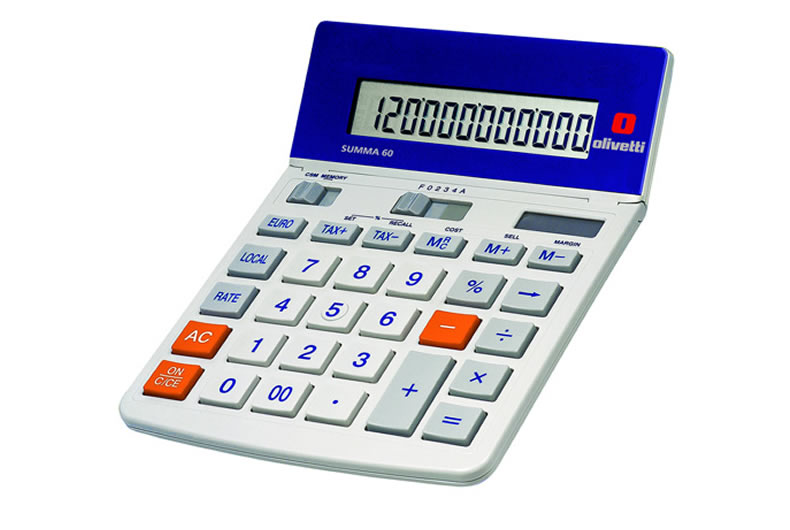 Calcolatrice Olivetti Summa 60 Bianca, Arancio E Blu